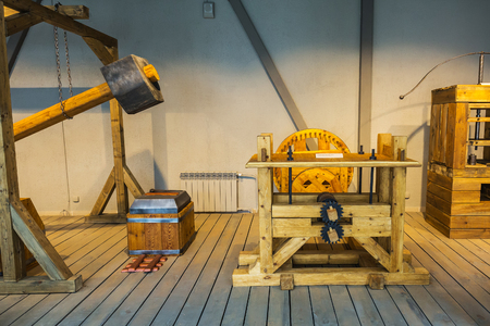 Suzun, Novosibirsk region, Western Siberia, Russia-July 21, 2018: Museum and tourist complex Suzun-Zavod. Mint. Copies of old machines for working with metal