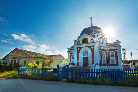 Zavyalovo village, Novosibirsk region, Western Siberia, Russia-July 21, 2018: Church of the Intercession