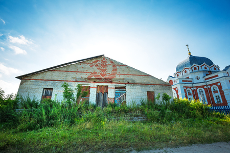 Zavyalovo village, Novosibirsk region, Western Siberia, Russia-July 21, 2018: Church of the Intercession of the Theotokos And old country club