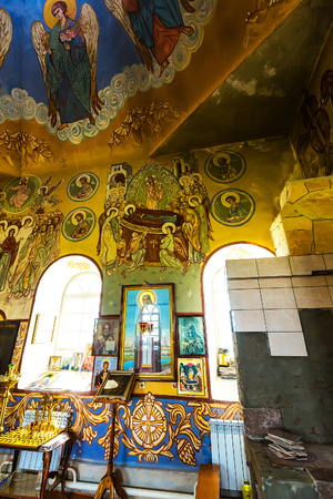 The village of Chingisy, Novosibirsk oblast, Western Siberia,Russia - July 21, 2018: the Orthodox Church of the Holy apostles Peter and Paul. Painting of the temple walls
