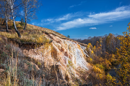 The output of the sedimentary rocks of the ancient ocean, age about 350 million years, the rivers of Sнipuniha. Iskitim district, Novosibirsk region, Western Siberia, Russia Stock Photo