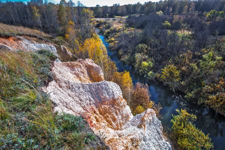 The output of the sedimentary rocks of the ancient ocean, age about 350 million years, the rivers of Sнipuniha. Iskitim district, Novosibirsk region, Western Siberia, Russia 版權商用圖片