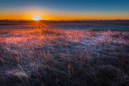 Sunrise over frost-covered fields. Western Siberia, Novosibirsk region, Kolyvan district, Russia