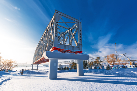 Novosibirsk, Western Siberia, Russia-January 2, 2019: Span structure of the first railway bridge over the Ob river 報道画像