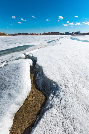 The Berd ' river (tributary of the Ob) in the spring of sunken ice. Berdsk, Novosibirsk region, Western Siberia, Russia Stock Photo