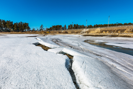 The Berd  river (tributary of the Ob) in the spring of sunken ice. Berdsk, Novosibirsk region, Western Siberia, Russia 写真素材