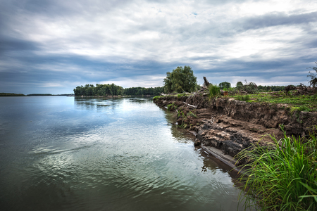 Summer cloudy morning over the confluence of the Meret and Ob river. Novosibirsk region, Suzun district, Western Siberia, Russia