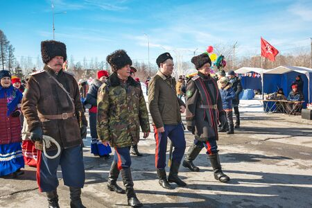 Berdsk, Novosibirsk region, Western Siberia, Russia-March 9, 2019: Cossacks are ahead of the festive procession. The Holiday Of Maslenitsa