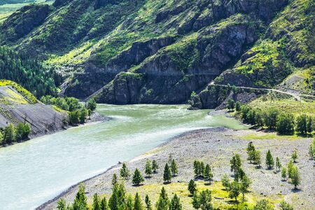The confluence of the rivers Chuya and Katun surrounded by mountain ranges - Chui-Ooz. Ongudai district, Altai Republic, Russia