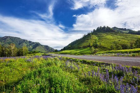 Altai Republic, southern Siberia, Russia - July 13, 2019: Federal highway - Chui tract, in the Altai mountains Stock Photo - 128255097