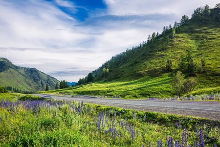 Altai Republic, southern Siberia, Russia - July 13, 2019: Federal highway - Chui tract, in the Altai mountains Stock Photo - 128255113