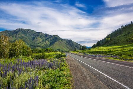 Altai Republic, southern Siberia, Russia - July 13, 2019: Federal highway - Chui tract, in the Altai mountains Stock Photo - 128255108