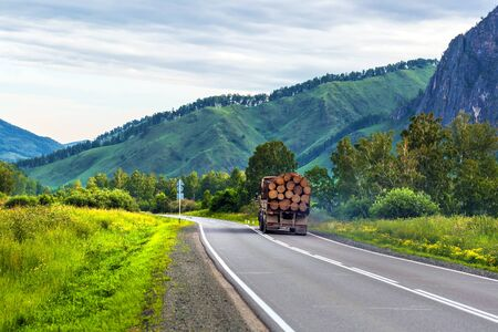 Chui tract, Shebalinsky district, Altai Republic, southern Siberia, Russia - July 13, 2019: truck loaded with sawn tree trunks moves along Chui tract Stock Photo