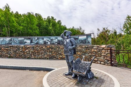 Ongudai district, Altai Republic, South Siberia, Russia - July 13, 2019: monument dedicated to the labor feat of the builders of the Chui tract installed on the mountain pass Chike - Taman