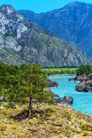 Chemal district, Altai Republic, southern Siberia, Russia - August 15, 2019: a view of the Katun river and rapids Teldekpen have Oroktoysky bridge