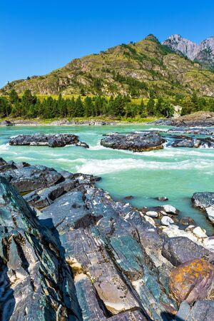 Elandinskaya the rapids on the river Katun. The unfinished area of the Katun hydroelectric power station, Chemal district, Altai Republic, southern Siberia, Russia 版權商用圖片 - 129773729