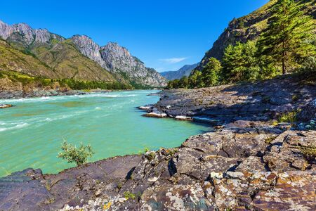 View of the mountain valley with the river. Katun river, unfinished Katun hydroelectric station district, Chemalsky district, Altai Republic, southern Siberia, Russia 写真素材