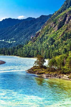 View of Katun river and mountain valley in summer. Chemalsky district, Altai Republic, southern Siberia, Russia