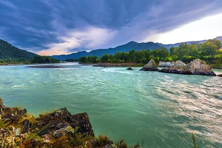 Dragon's Teeth rocks in the middle of the Katun river. Elekmonar village, Chemalsky district, Altai Republic, southern Siberia, Russia