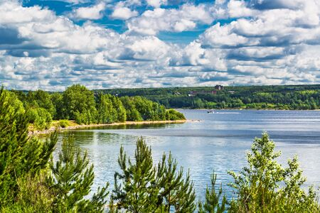 """View of the Bay of bird in summer. Specially protected natural area-city Park """"Berd spit"""", Berd river, Berdsk, Novosibirsk region, Western Siberia, Russia"""
