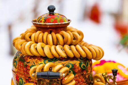 Berdsk, Novosibirsk region, Western Siberia, Russia-March 1, 2020: a Bundle of round dried fruits dressed on a samovar