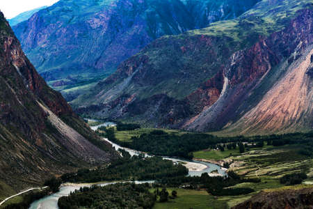 The valley of the river Chulyshman. Russia, southern Siberia, Altai Republic, Ulagansky district