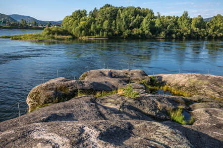 View Of the stone of love by the Biya river. Turochak village, Turochaksky district, Altai Republic, South of Western Siberia, Russia