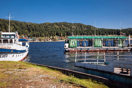 Iogach village, Turochaksky district, Altai Republic, Russia-August 20, 2020: Marina with boats in iogach village