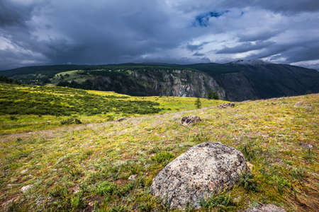 View of the Chulyshman highlands near the Chulyshman river valley. Ulagansky district, Altai Republic, South of Western Siberia, Russia
