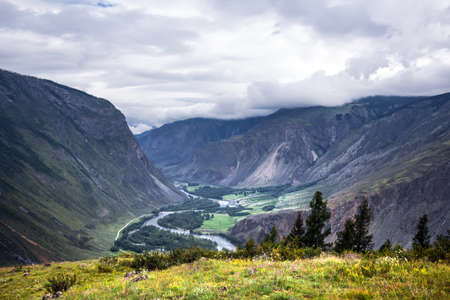 View of the Chulyshman valley with the Chulyshman river at the katu-Yaryk pass. Ulagansky district, Altai Republic, South of Western Siberia, Russia