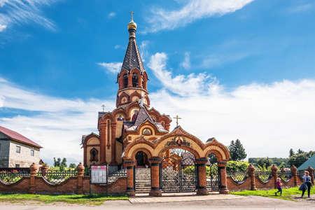 Srostki village, Altai Krai of Siberia, Russia-AUGUST 22, 2020: brick building of the Church of St. Catherine in the Altai village of Srostki