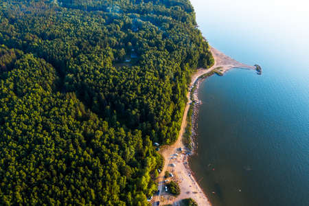 The coast of the Ob Sea with beaches, from a bird's-eye view. The coast of the city of Berdsk, Novosibirsk region, Western Siberia Russia