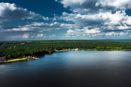 The Berd River near the city of Berdsk in the summer from a bird's-eye view.