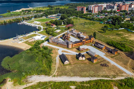 BERDSK, Novosibirsk Region, Western Siberia of Russia - July 28, 2021: Bird's-eye view of the city of Berdsk and the Berdsky Bay in the Ob Sea