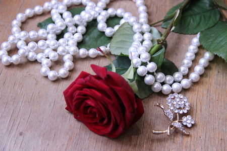 beautiful red rose with pearl beads on a beige background.