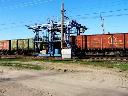 Lipetsk, Russia - 04 25 2109 repair crane om the railway the sun day