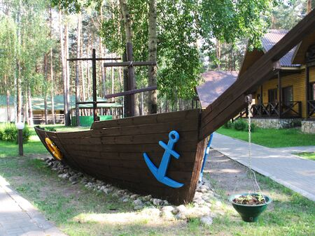 pictured in the photo mock up of an old brigantine in a park