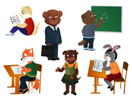 fox terrier: A set of animals school children on a white background, vector illustration