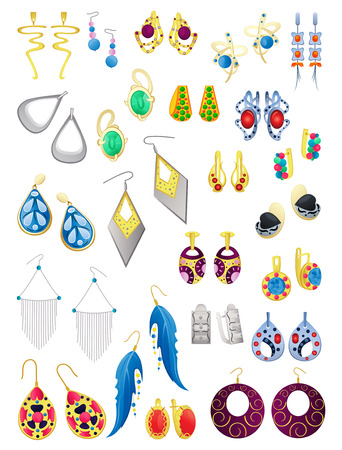 A set of earrings isolated on white background. Jewelery and imitation jewelery. Illustration