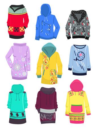 tunic: Set of female hoodies isolated on white background