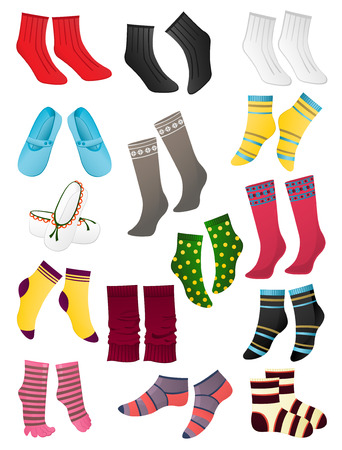 Set of colored socks on a white background