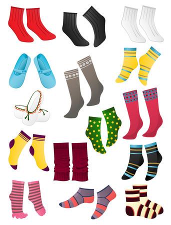 Set van gekleurde sokken op een witte achtergrond