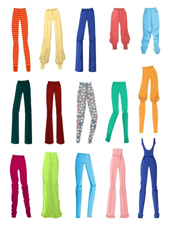 tight: Set of female pants isolated on white background Illustration