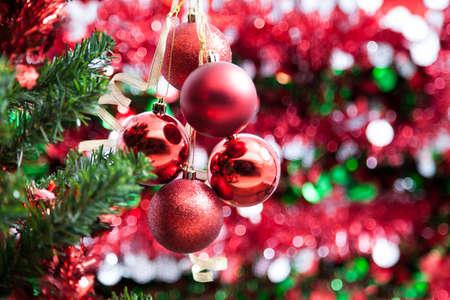 christmas tree ball: Red hanging Christmas ball and Christ tree