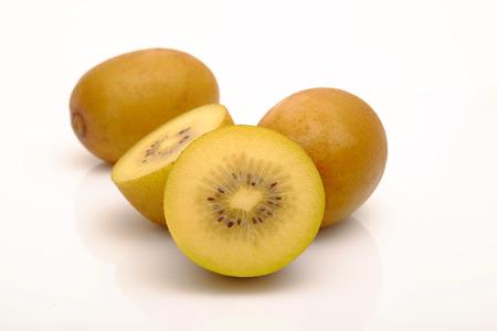 Fresh yellow kiwi(or gold kiwi) and cut yellow kiwi with space for text on white background.