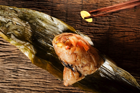 Zongzi or Traditional Chinese Sticky Rice Dumplings for dragon boat festival.
