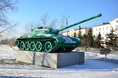 monument. a real military tank. Soviet era. Russia (USSR)