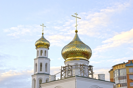 Repair of church, golden domes. Russia Banco de Imagens