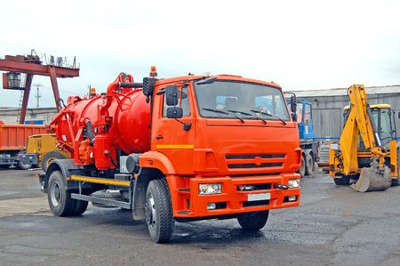 Industrial cars. Sewage, septic trucks. bulldozer. Russia