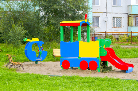 Childrens playground. provincial town. summer. Russia